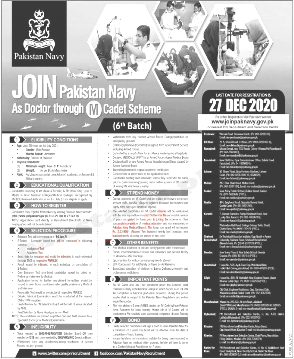 Join Pakistan Navy as Doctor through