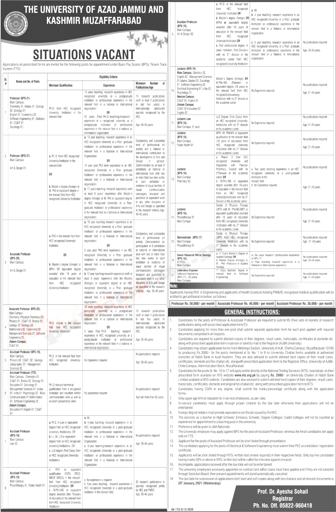 University of AJK Jobs 2021