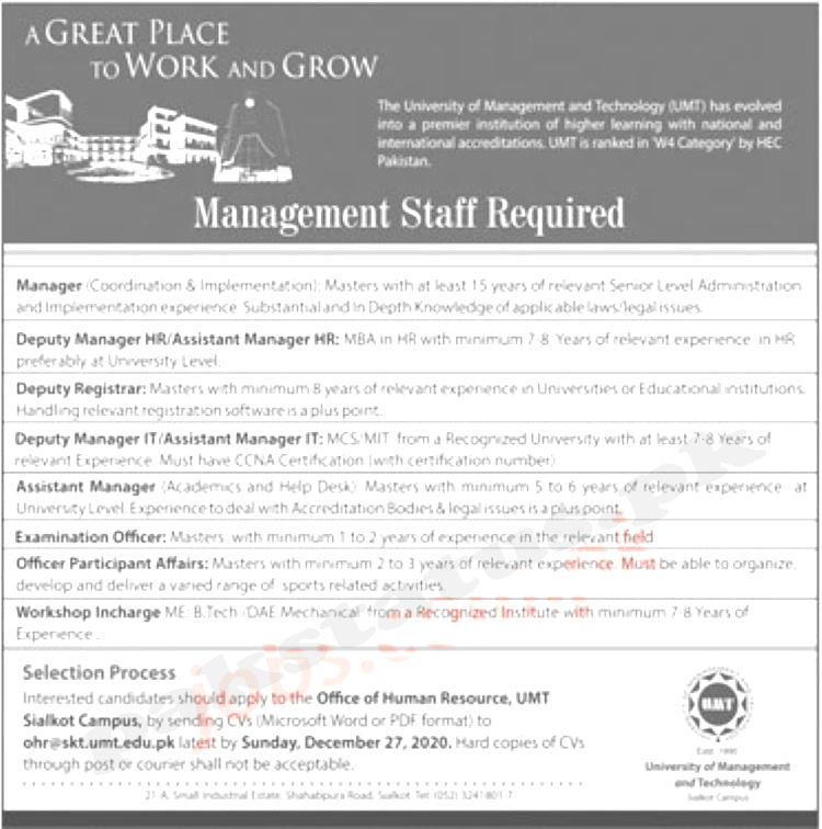 University of Management & Technology (UMT) Lahore Jobs 2020